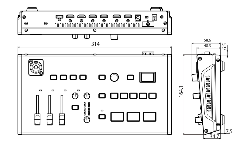 Roland - VR-1HD : Mélangeur de streaming dimensions